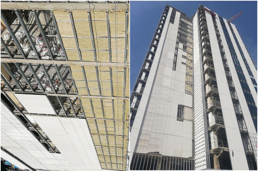 تصویر اجرا شده سازه LSF جداره پیرامونی و لایه سمنت برد پوشش بیرونی